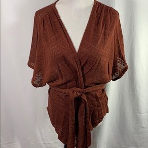 Anthropologie Moth Wrap Belted Sweater
